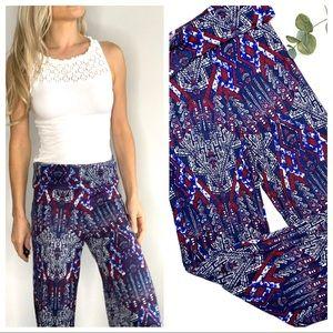 Pants - Wide Leg Boho Tribal Stretchy Pants Blue Burgundy